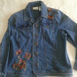 Alfred dunner denim embroidered women's jacket